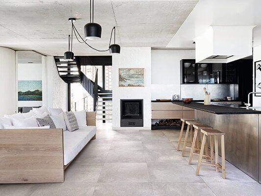 vloertegels woonkamer met keuken